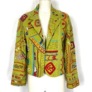 Chico's embroidered cotton summer jacket